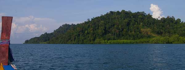 in boat heading towards rainforest trek thailand